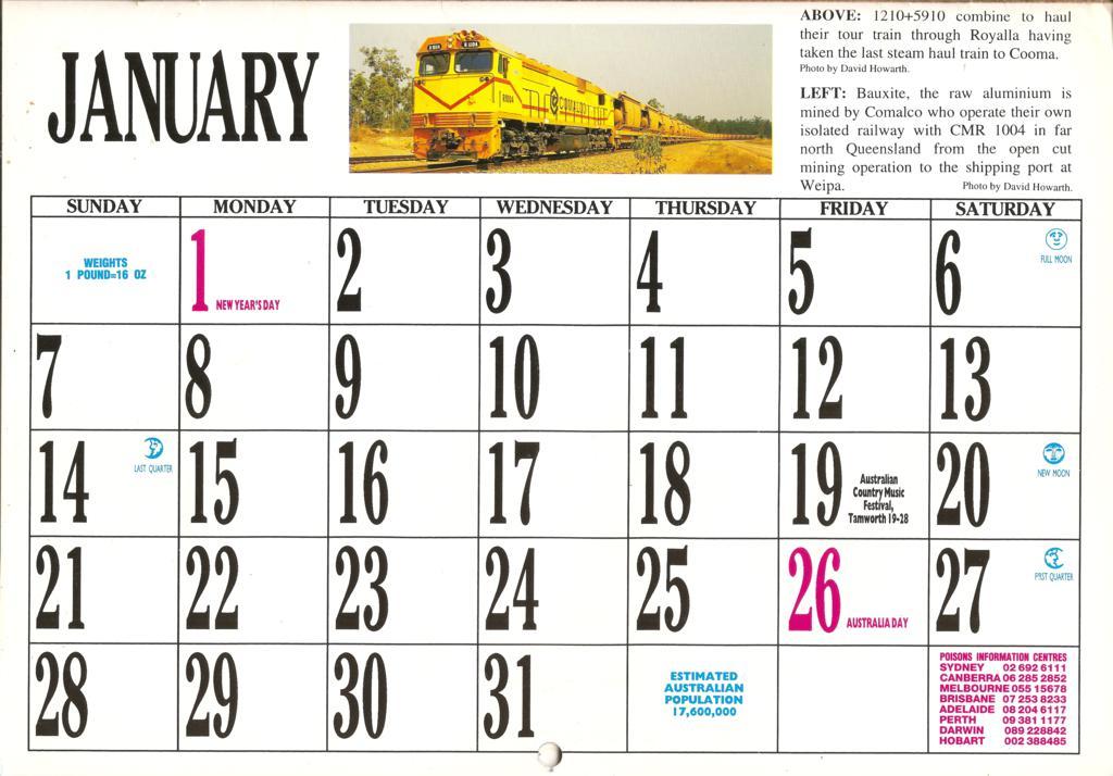 1996ATC0003 January Page 1996 Australian Trains Calendar