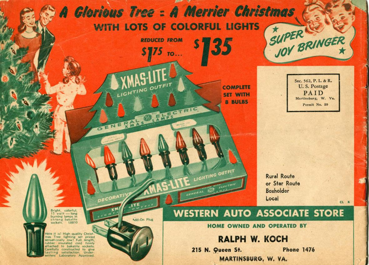 Western Auto Christmas catalog back cover - year unknown