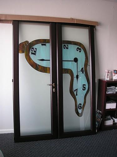 Custom Mahogany Interior Doors Art Glass Contemporary