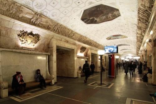 Ornate decorations at platform level