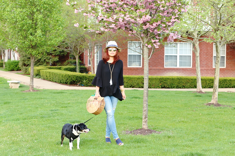 black-ruffle-spring-top-skinny-fringe-jeans-dog-5