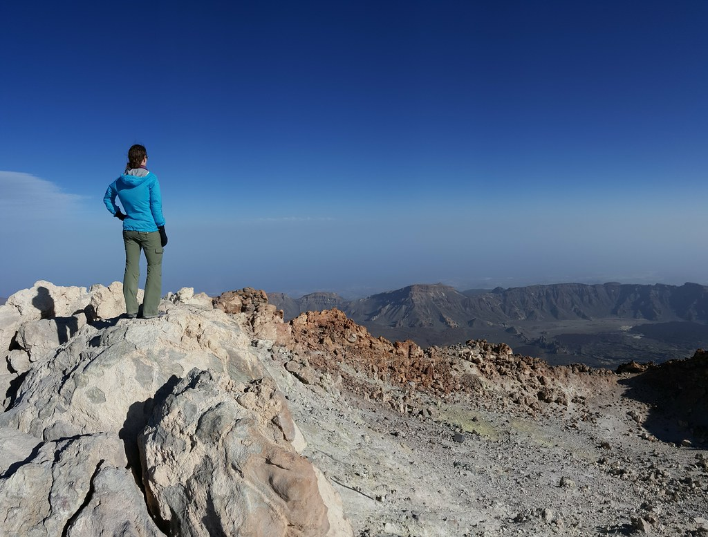 Standing on the summit of Mount Teide