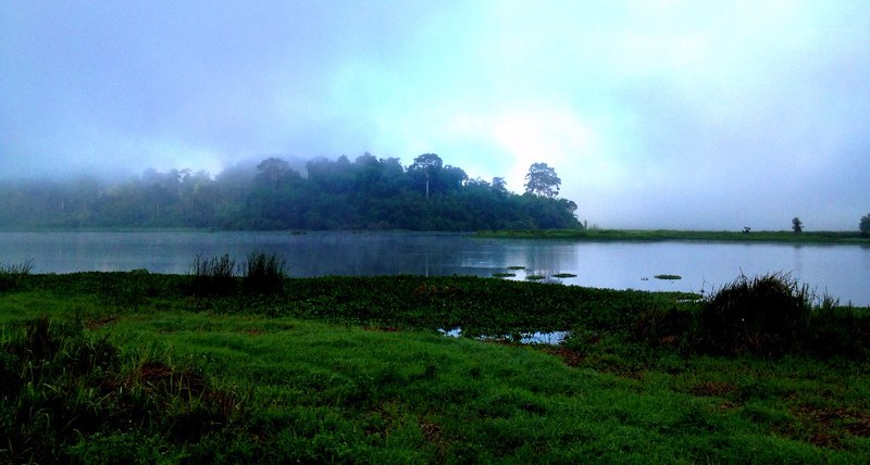 crocodile lake in cat tien national park before sunrise