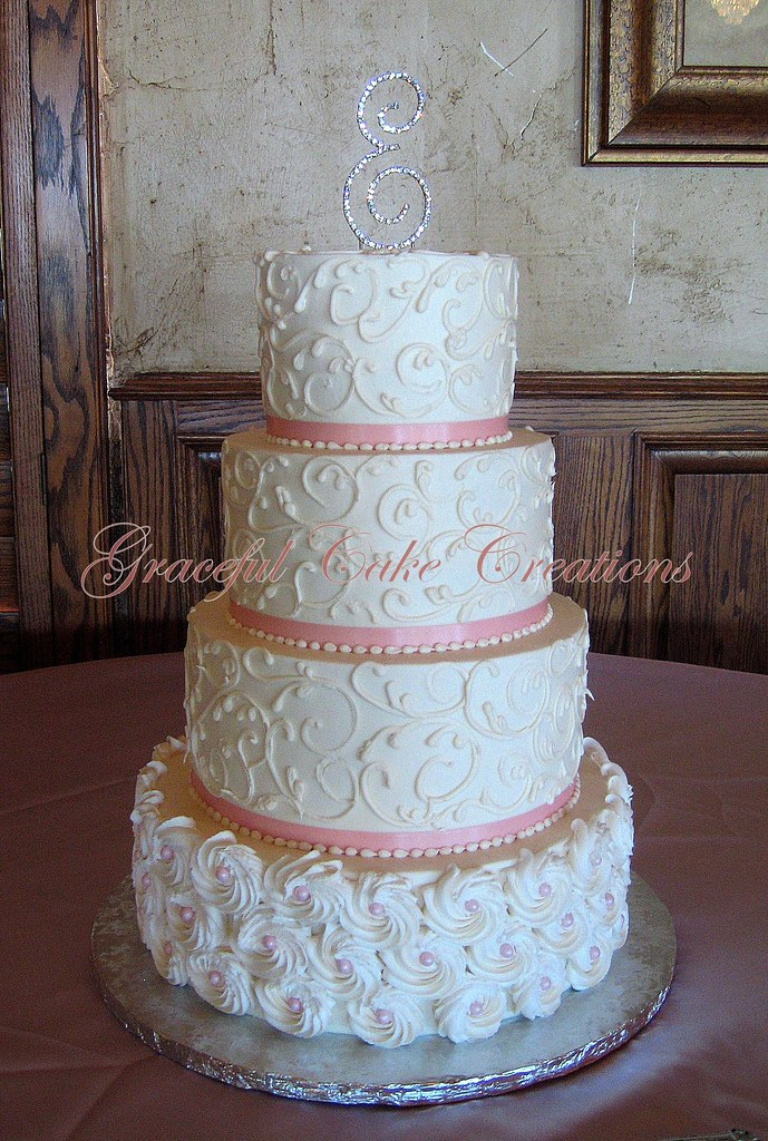 Elegant Ivory Butter Cream Wedding Cake With Piped Rosette