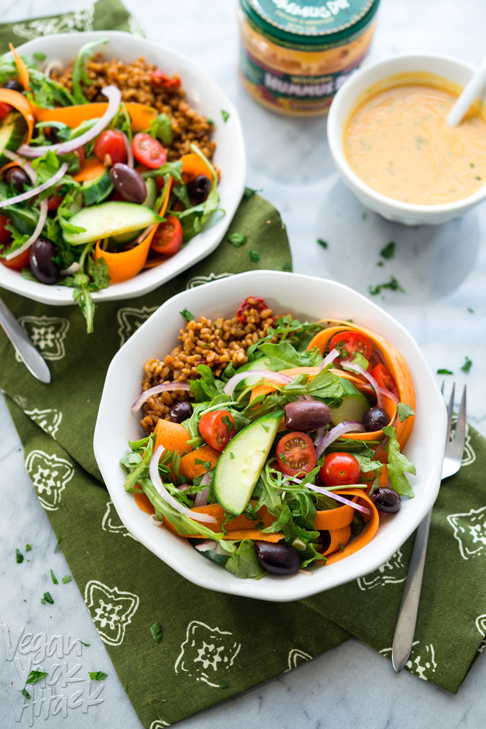 Arugula Bulgur Pilaf Salad - A tangy mix of warm, quick pilaf with a crunchy refreshing salad, and red pepper dressing. Perfect for Spring! #vegan #WildGarden #soyfree