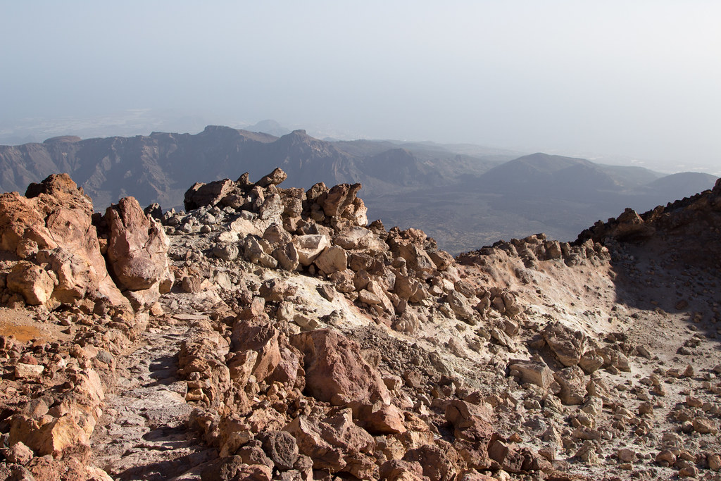 The volcanic rock on Mount Teide