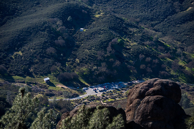 west parking lot viewed from High Peaks trail at Pinnacles National Park