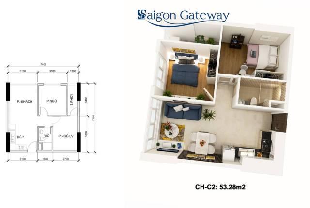 Căn hộ SAIGON GATEWAY 53.28 m2