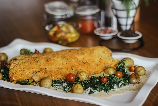 Baked Fillet of Garoupa with Mushrooms, Tomatoes and Lemon Herb Crust on...