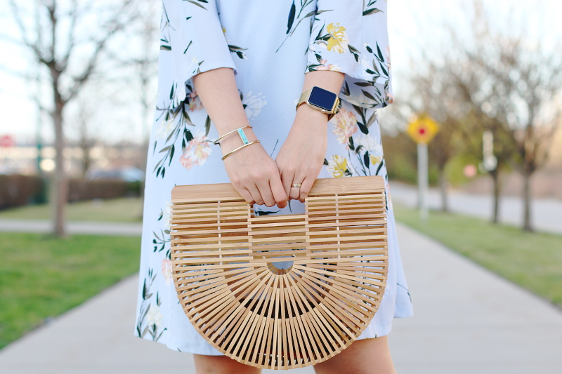 spring-floral-dress-wooden-ark-bag-gold-apple-watch-cuff-3