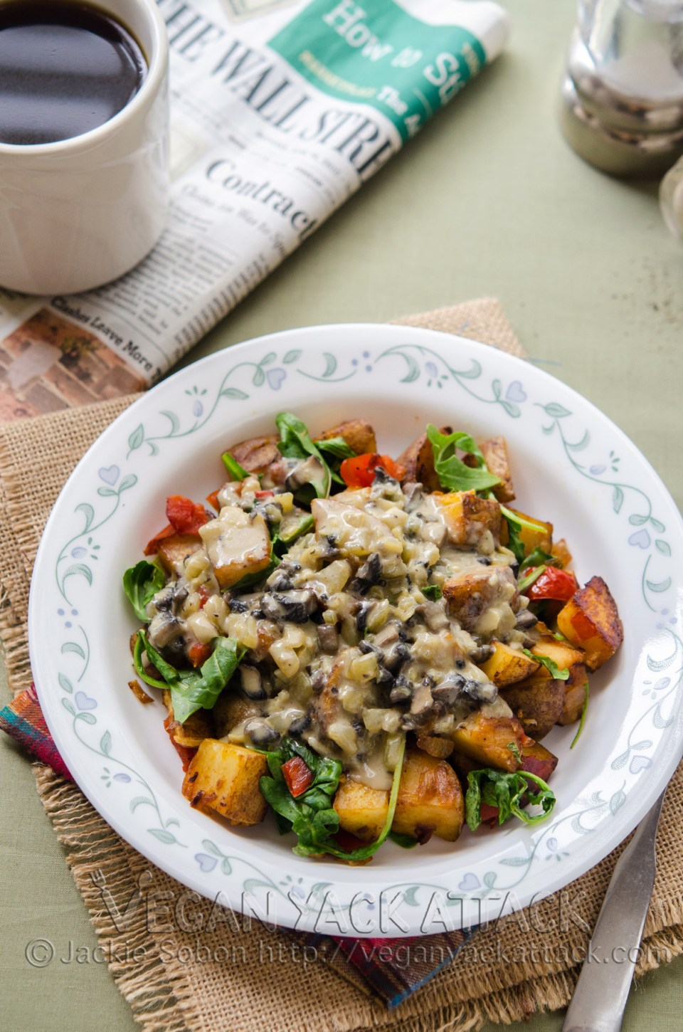 Crispy potato hash covered in a heavenly mushroom gravy!