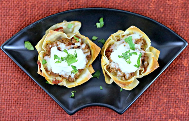 Muffin tin taco cups top close