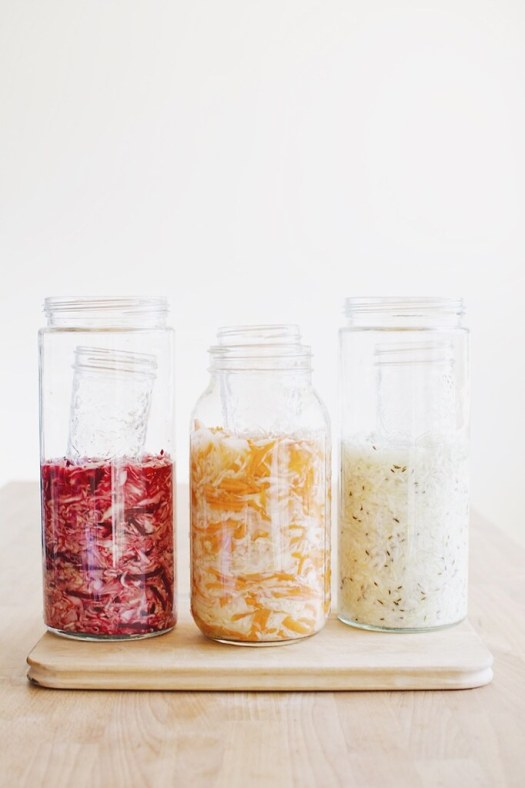 Sauerkraut 3 ways (cabbage and caraway, beet and cabbage, curtido - onion, carrot, cabbage)