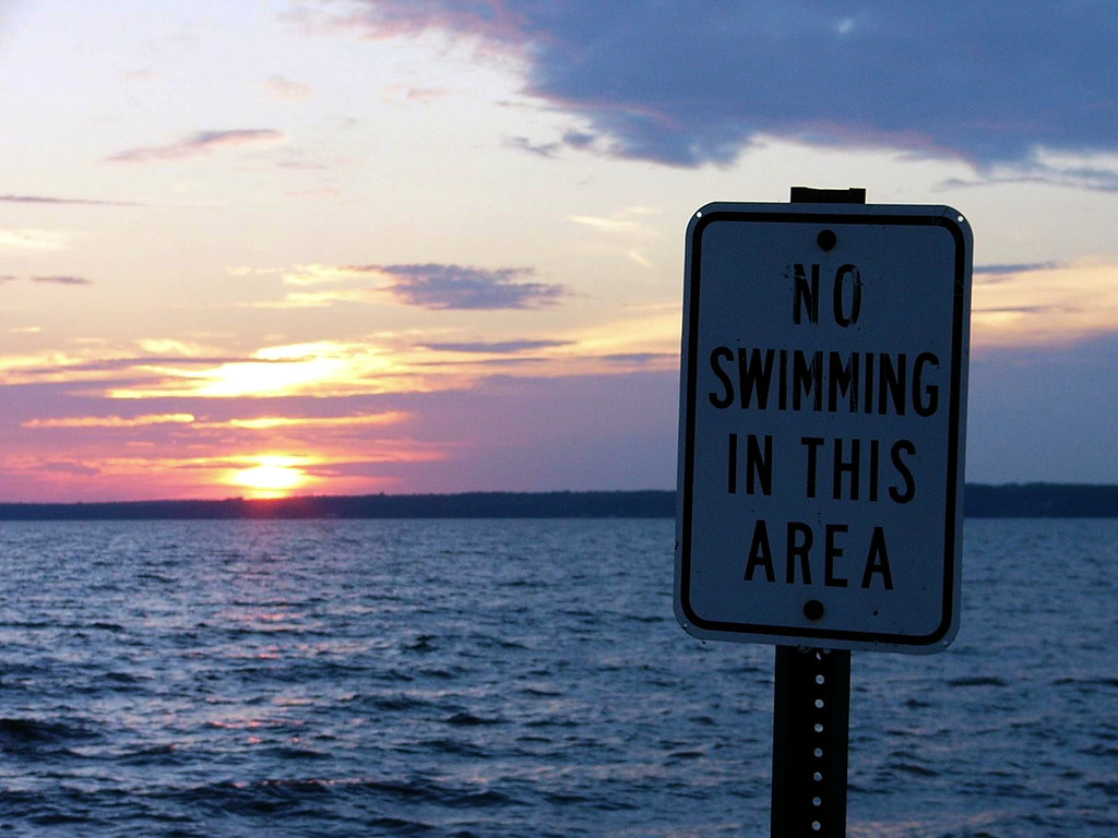 No Swimming in this Area -- public domain image from pixnio