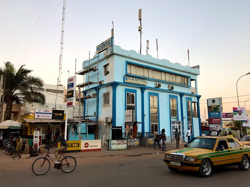 blue building in the center of serrekunda gambia