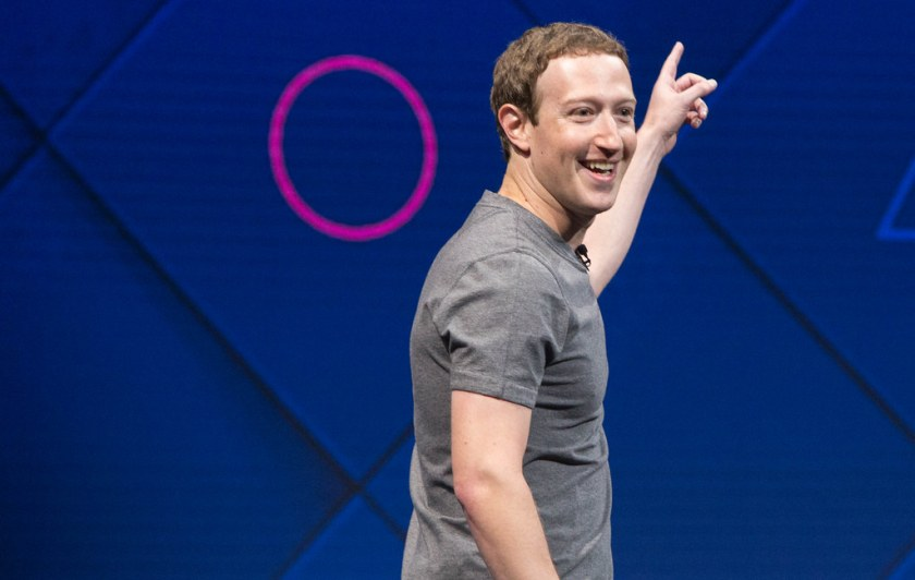 Mark Zuckerberg points into space