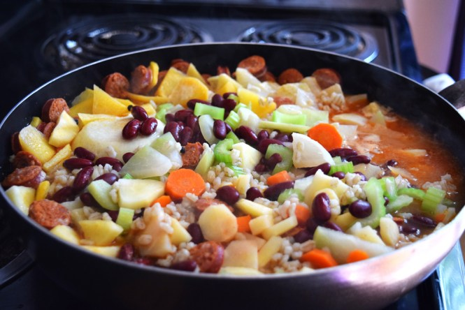 Barley Stew with Root Vegetables and Sausage