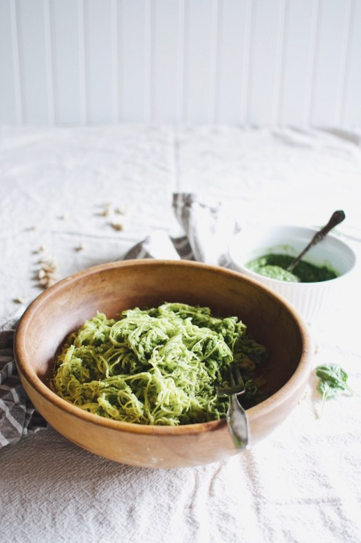 roasted spaghetti squash with spinach cashew pesto