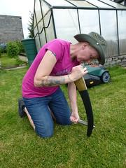 honing a scythe left handed