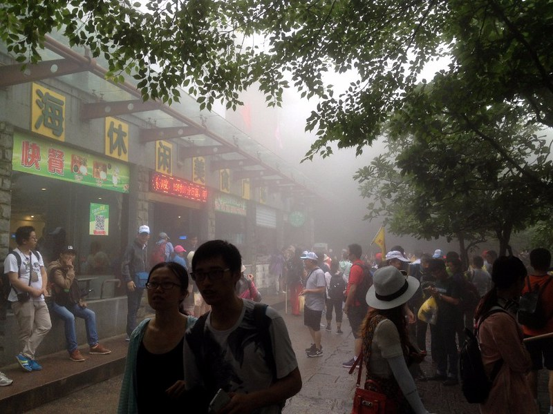 crowds of chinese people on huangshan mountain