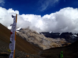 buddhist flag high up on himalayas in thorung la pass