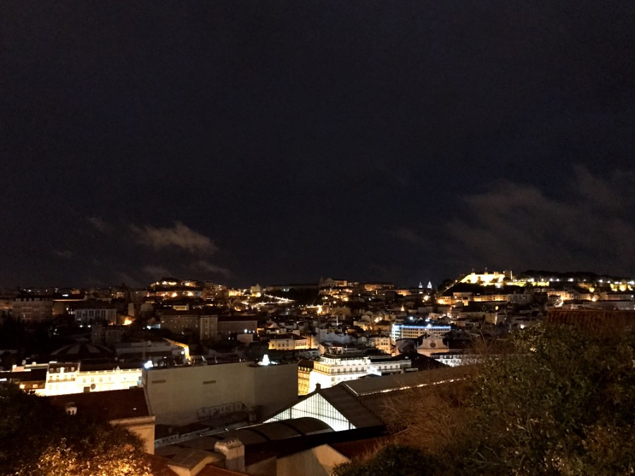 view of lisbon from high point at night