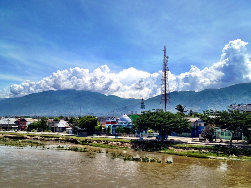 view of palu city in sulawesi, mountains and river