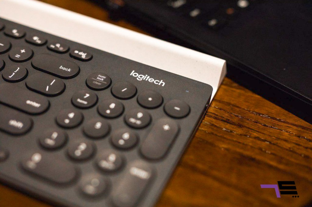 The Logitech K780's control pad is merged with other parts of the keyboard.
