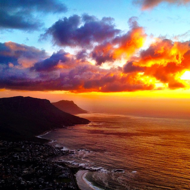 night view of cape town from lion's head