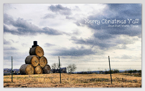 Texas Snowman Merry Christmas From Fort Worth Hay Bales Ti