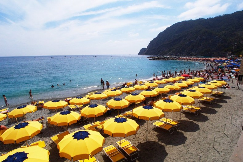 Monterosso beach umbrellas