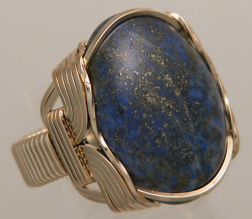 Wire Wrapped Mens Lapis Lazuli Ring Handsome Genuine