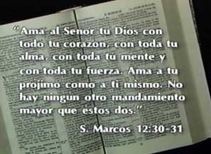 Mark 1230 31 Spanish Bible Verse Written Over A