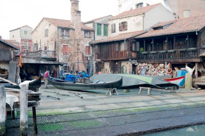 Gondola repair shop in Venice Italy
