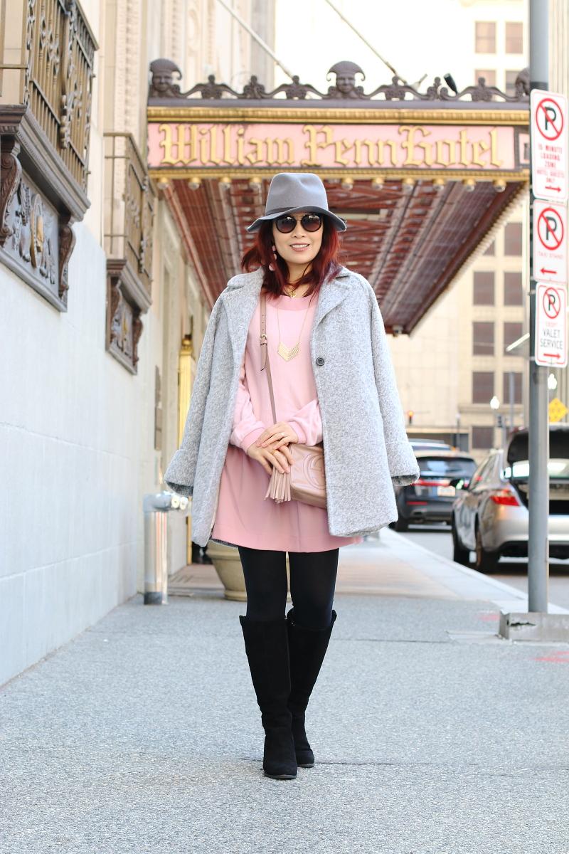 pink-dress-gray-coat-vionic-shoes-boots-2