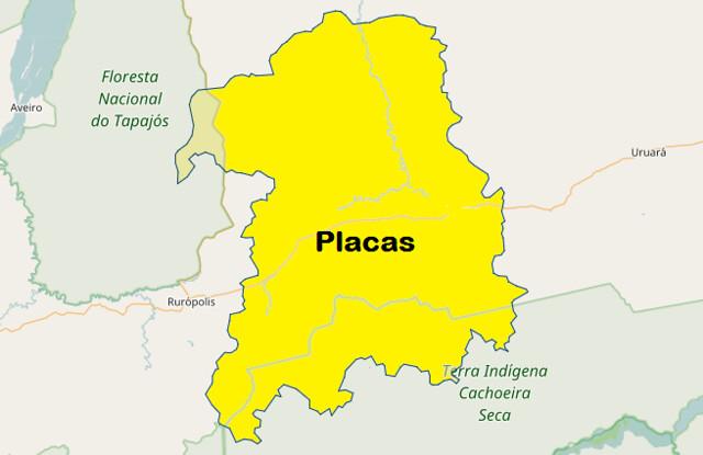 Prefeitura de Placas vai à Justiça para que IBGE faça recontagem da população, Mapa de Placas