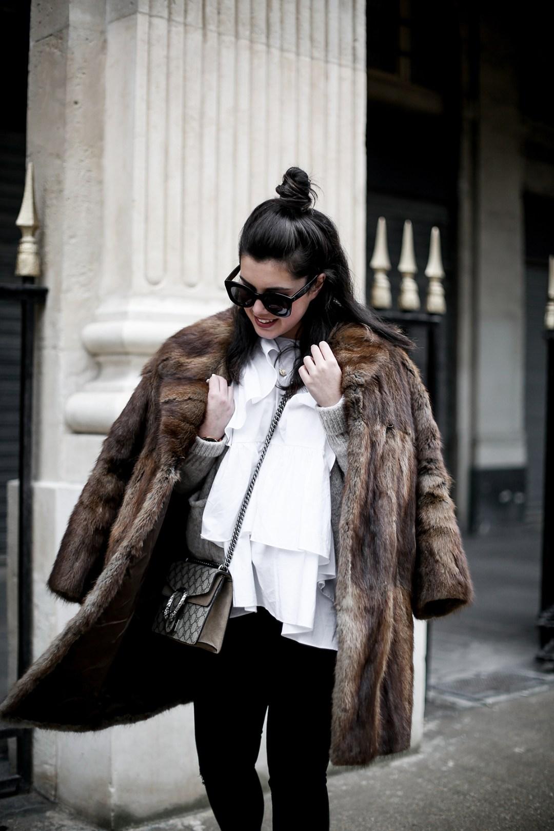 golden goose deluxe brand sneakers fur coat vintage streetstyle paris 2017-11