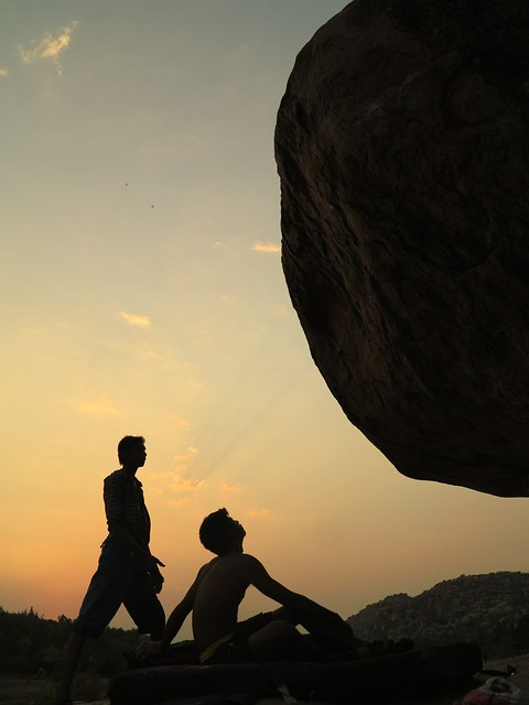Man & Boulder living in harmony, Hampi