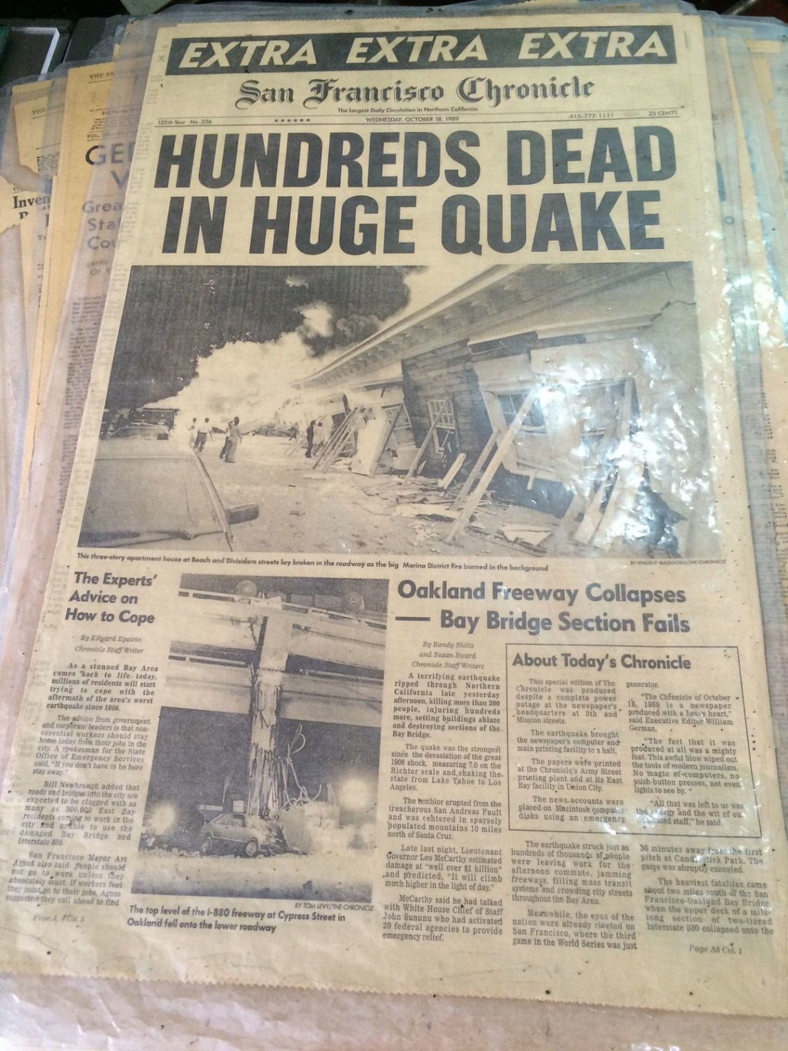 Headlines from the devastating 1989 earthquake