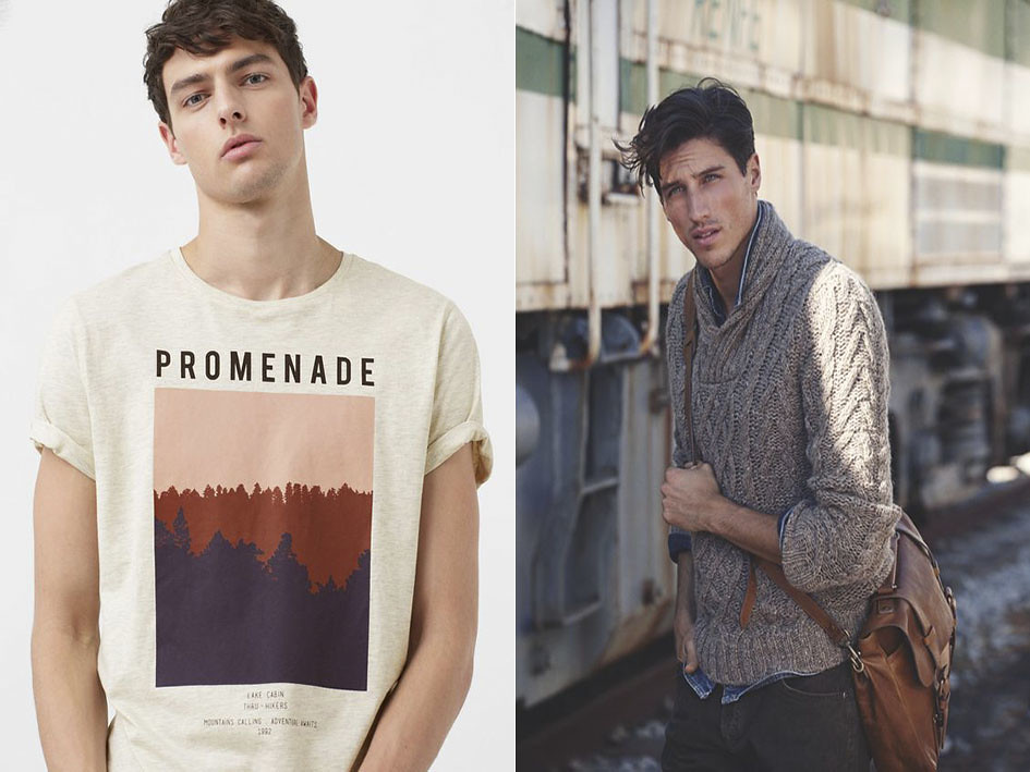 Las camisetas masculinas deben tener un dibujo central, los sweaters de punto para hombre y los jerséis de cuello redondo masculinos son la mejor elección
