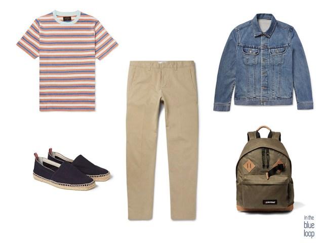 Combinación casual para hombre con camiseta de rayas, chinos, chaqueta vaquera, mochila y alpargatas masculinas