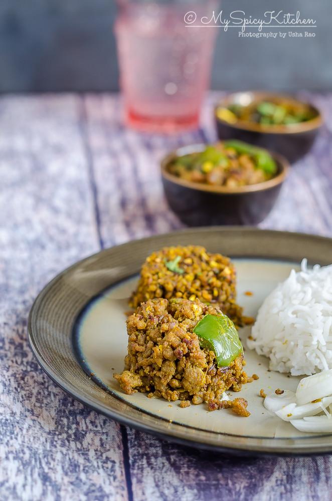 Kheema Shimla Mirch, Kheema Capsicum Curry, Kheema Bell Pepper Curry, Ground Goat meat Bell Pepper Curry, Ground Goat Bell Pepper Curry, Blogging Marathon, Indian Curry,