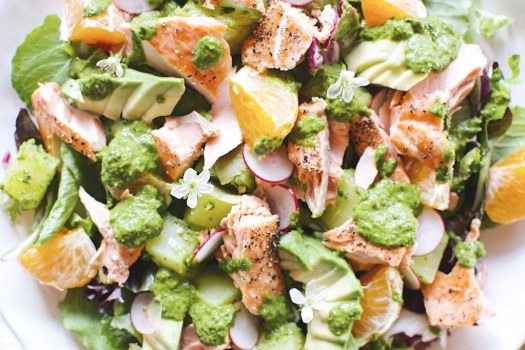 salmon salad with parsley caper dressing