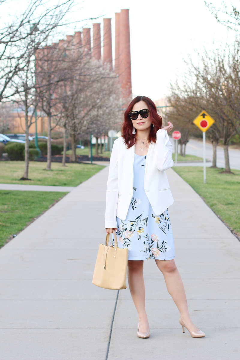 pastel-floral-dress-white-blazer-nude-pumps-2