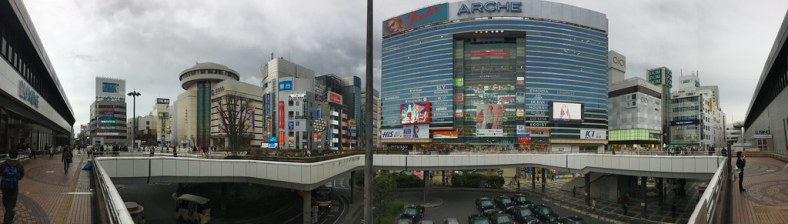 The scene outside Ōmiya station is a lot of mixed-use and malls