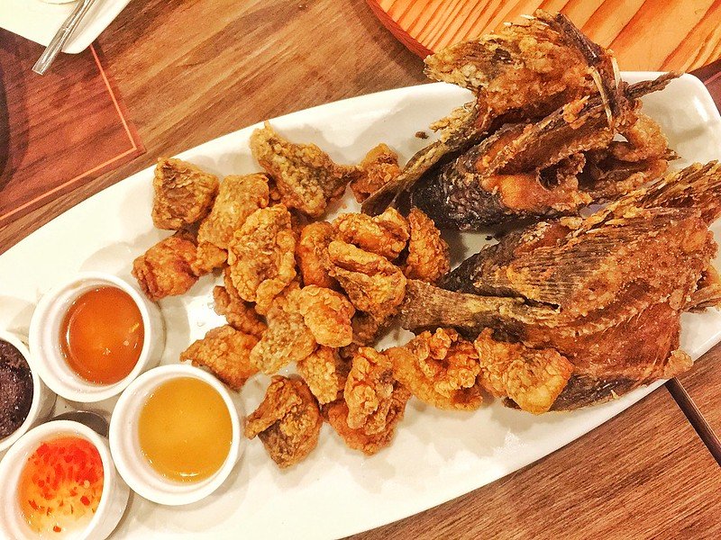 Crispy boneless Tilapia served with four sauces