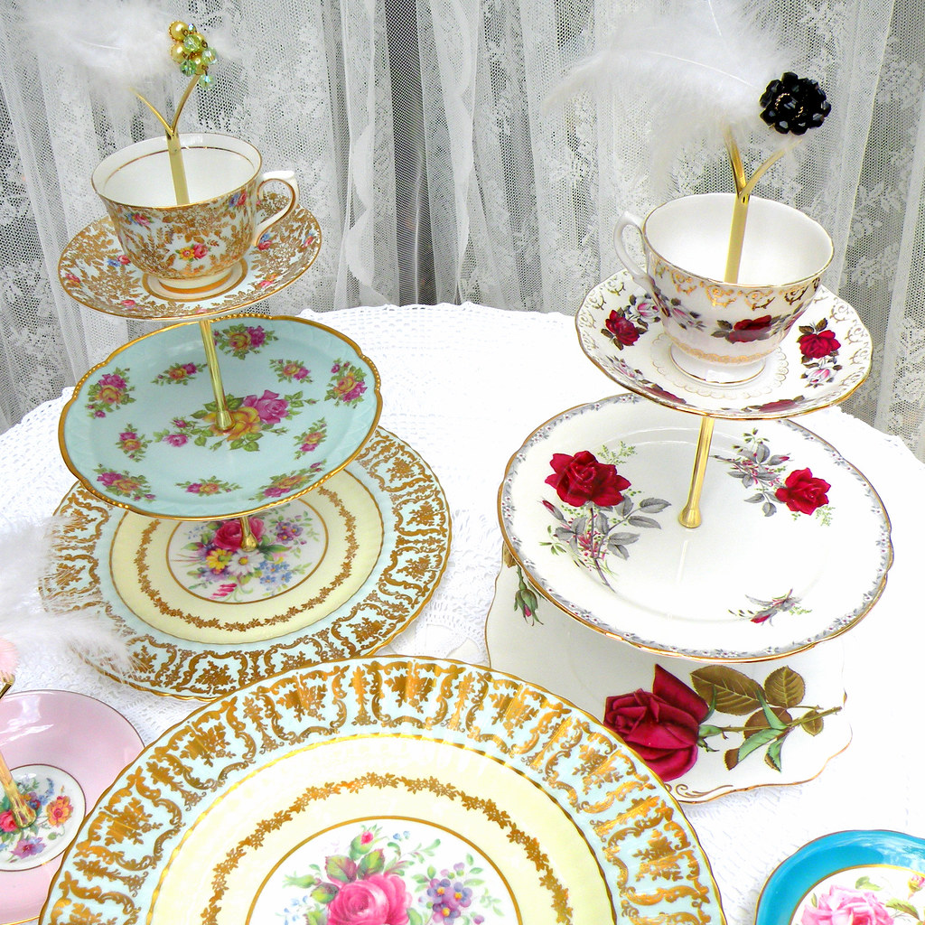 Tea Cake And Cupcake Stands In 3 Tiers Of Vintage Europea