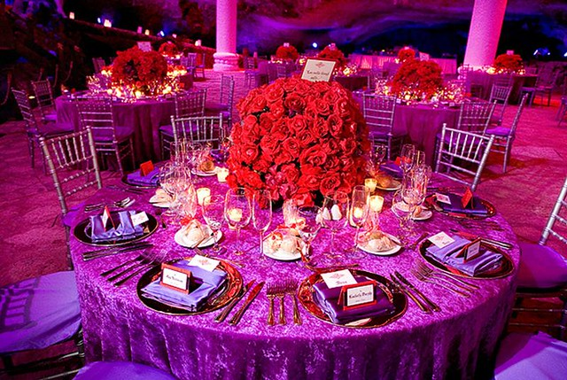 Rose Centerpiece At The Spanish Themed Destination Wedding