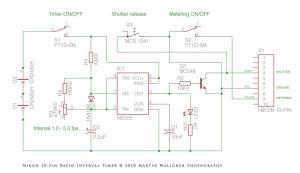 DIY Nikon 10pin Rapid Interval Timer  Schematic drawing