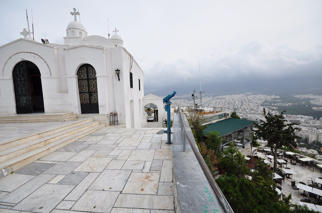 St George Church At The Top Of Mount Lycabettus And Athens